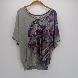 Hannah Floral Scoop Neck 3/4 Sleeve T-Shirt Top